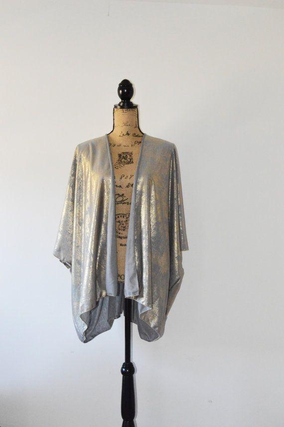 Metallic Gold Kimono Cardigan/ Modern Kimono Jacket/ Lightweight ...