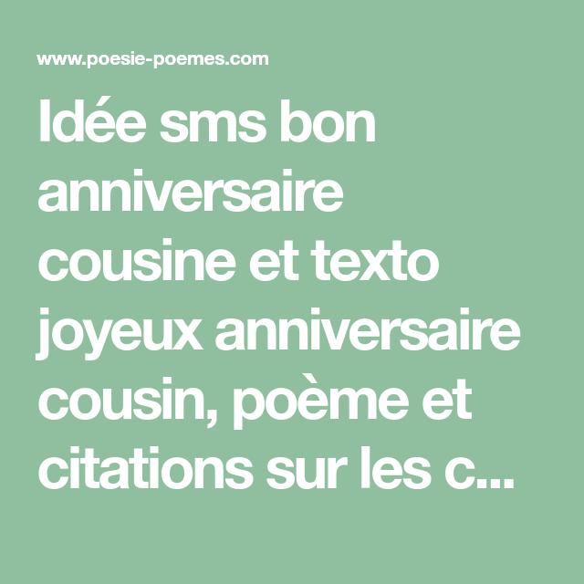 Idée Sms Bon Anniversaire Cousine Et Texto Joyeux