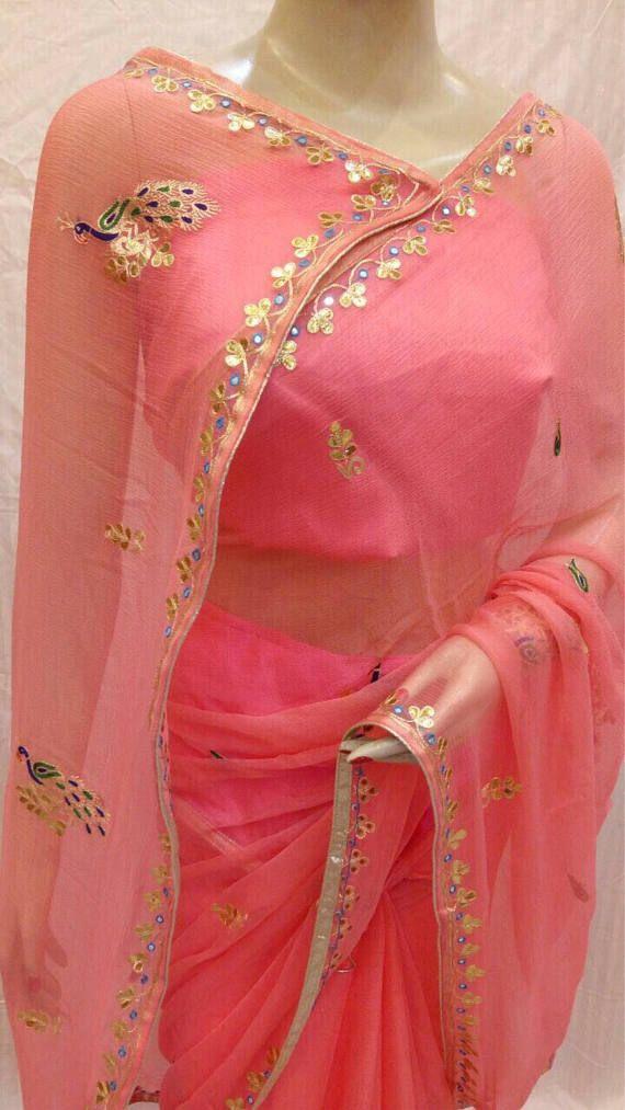 Pure shiffon Saree and blouse for women,saree,saree for women,saree dress,wedding saree,indian saree,traditional saree pink sareee