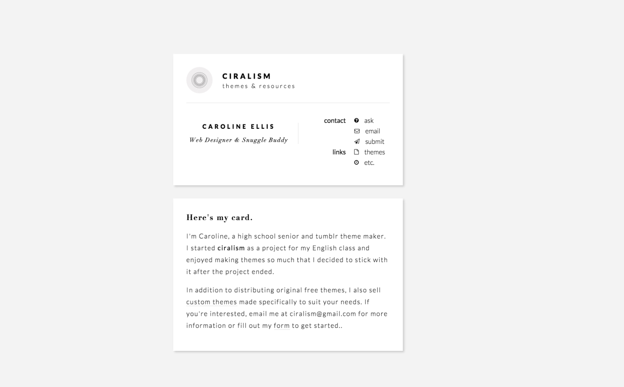 Here\'s My Card a business card-inspired about me page Plain Card ...