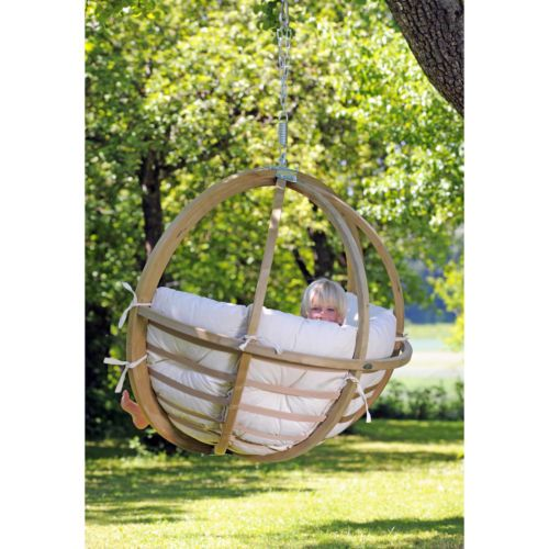 Garden Swing Seat Cushions Wooden Hammock Chair Outdoor Rotating
