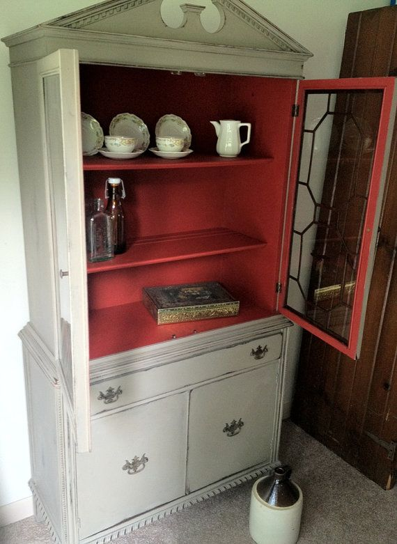 Antique China Cabinet Distressed Furniture By