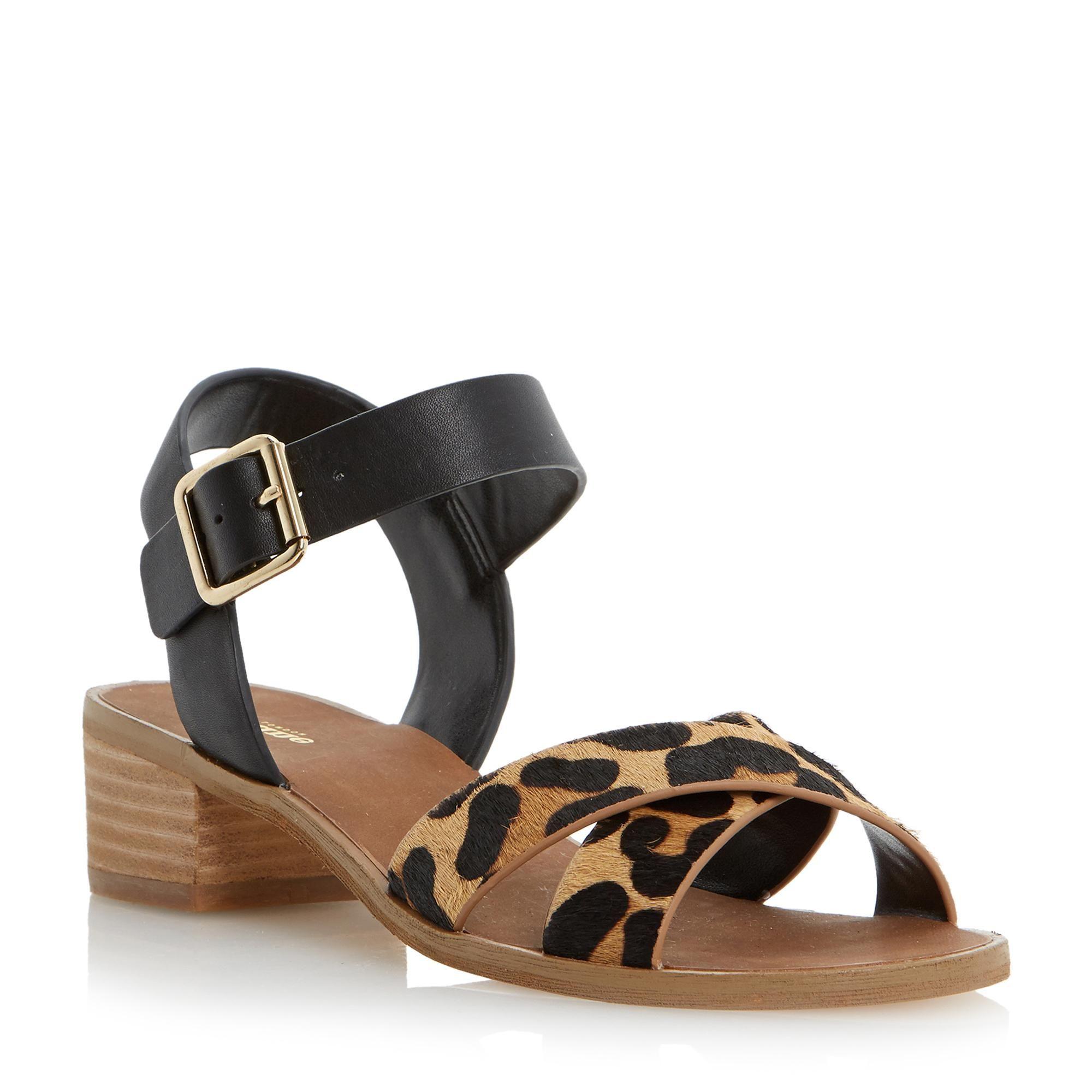 Black sandals online - Dune Ladies Jotta Contrast Crossover Strap Low Block Heel Sandal Black Dune Shoes
