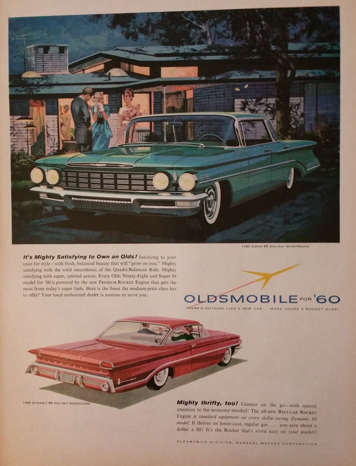 1960 GM There/'s Nothing Like a New Car For Going Places Vintage Print Ad