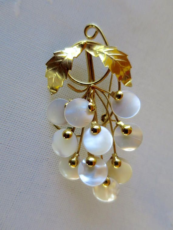 MOP Grape Cluster Brooch Gold Finish Brooch Mother of Pearl