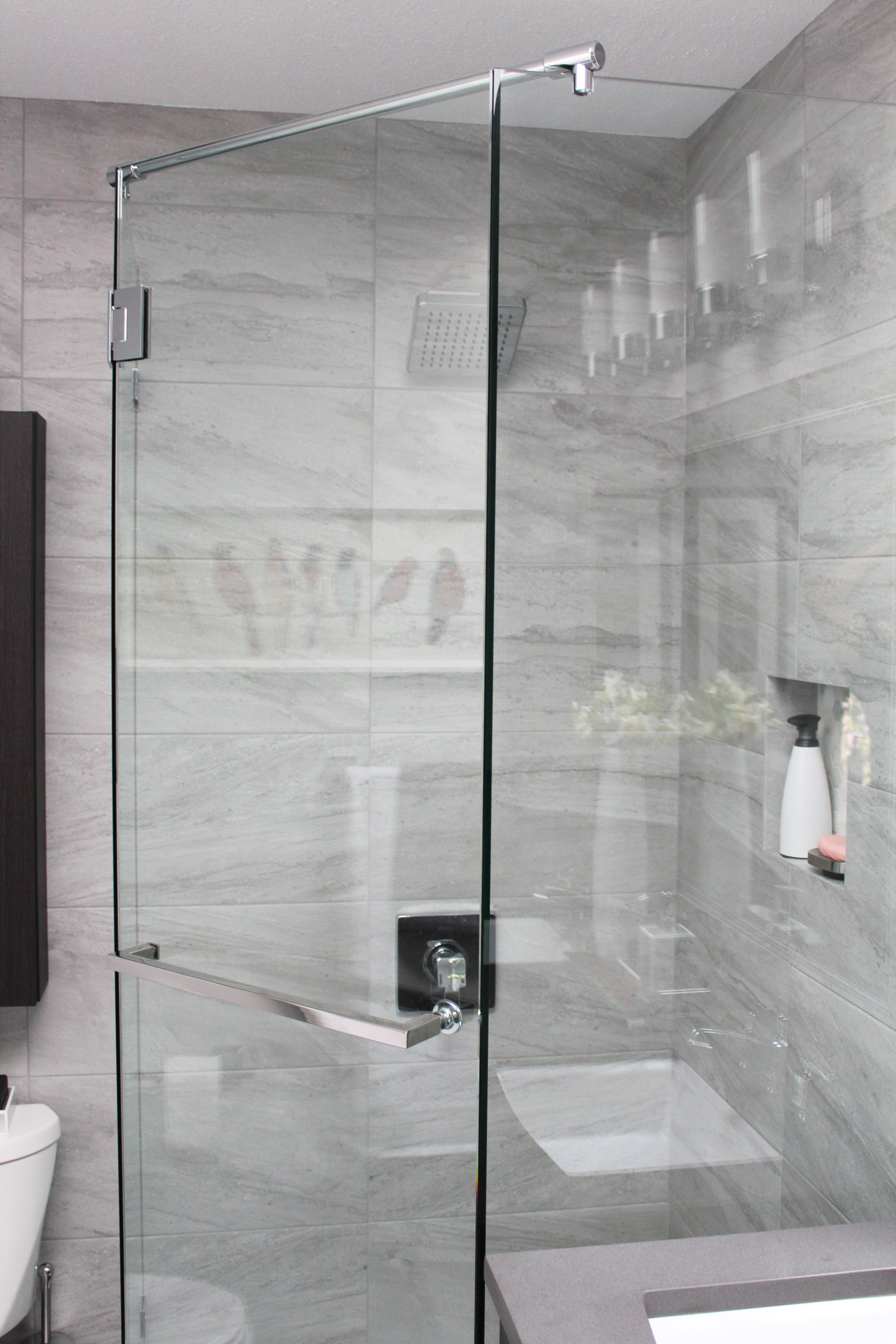 """beautiful bathroom renovation project featuring 12"""" x 24"""