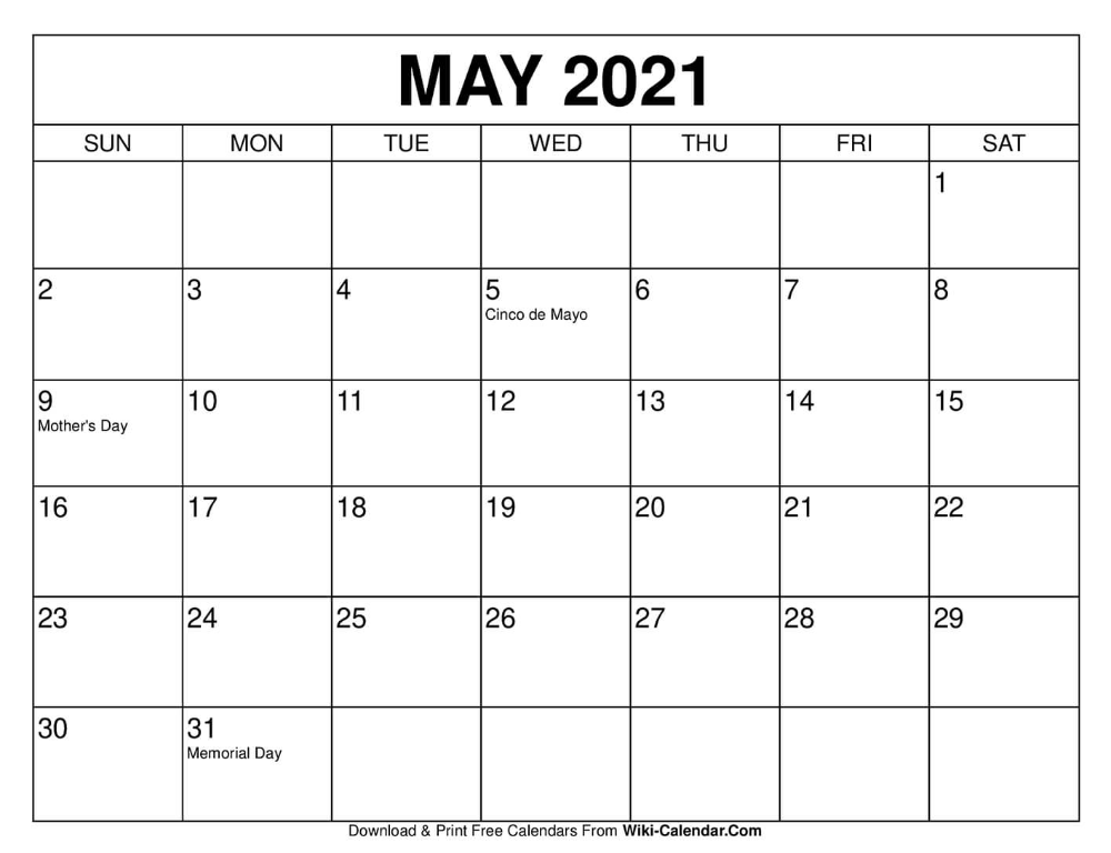 Calendar 2021 May Printable May 2021 Calendar in 2020 | Print calendar, Monthly calendar