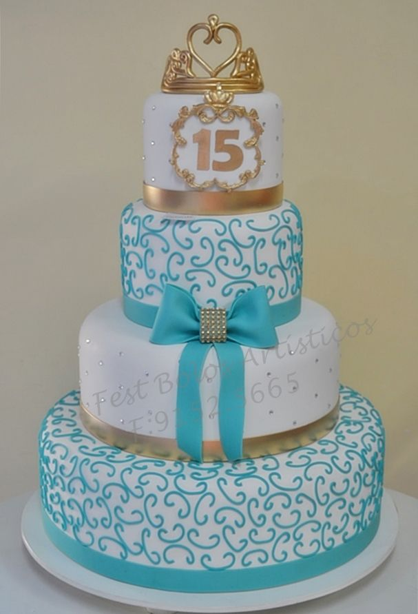 Años Cake  Moda Pinterest Quince Cakes Turquoise And Cake - 15 year birthday cake