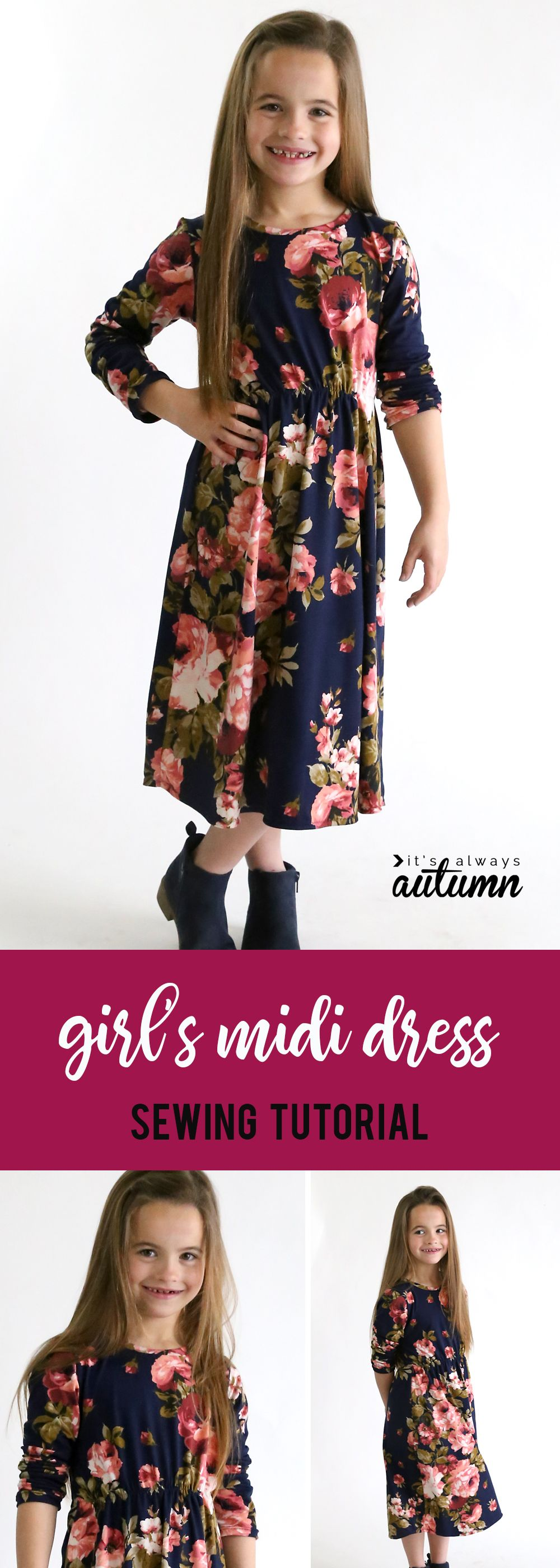 How to make a cute midi dress for a girl in any size without a pattern! Easy sewing tutorial. #itsalwaysautumn #sewing #sewingpattern