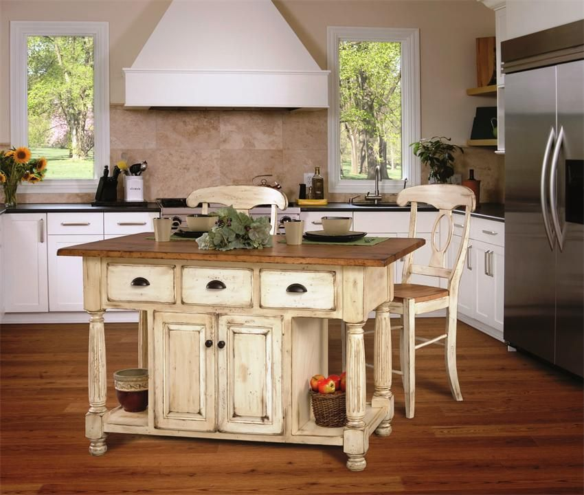 French Country Kitchen Island  New house  Kitchen island furniture Country kitchen island