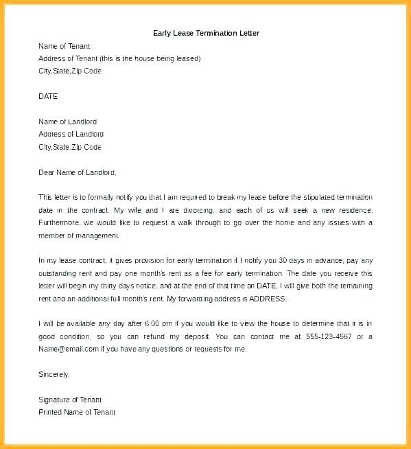 lease agreement early termination of commercial lease