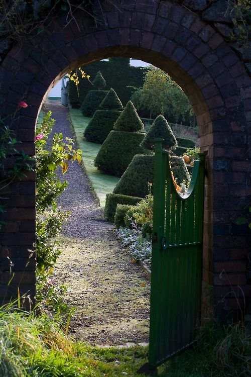 Garden gate and topiary path...