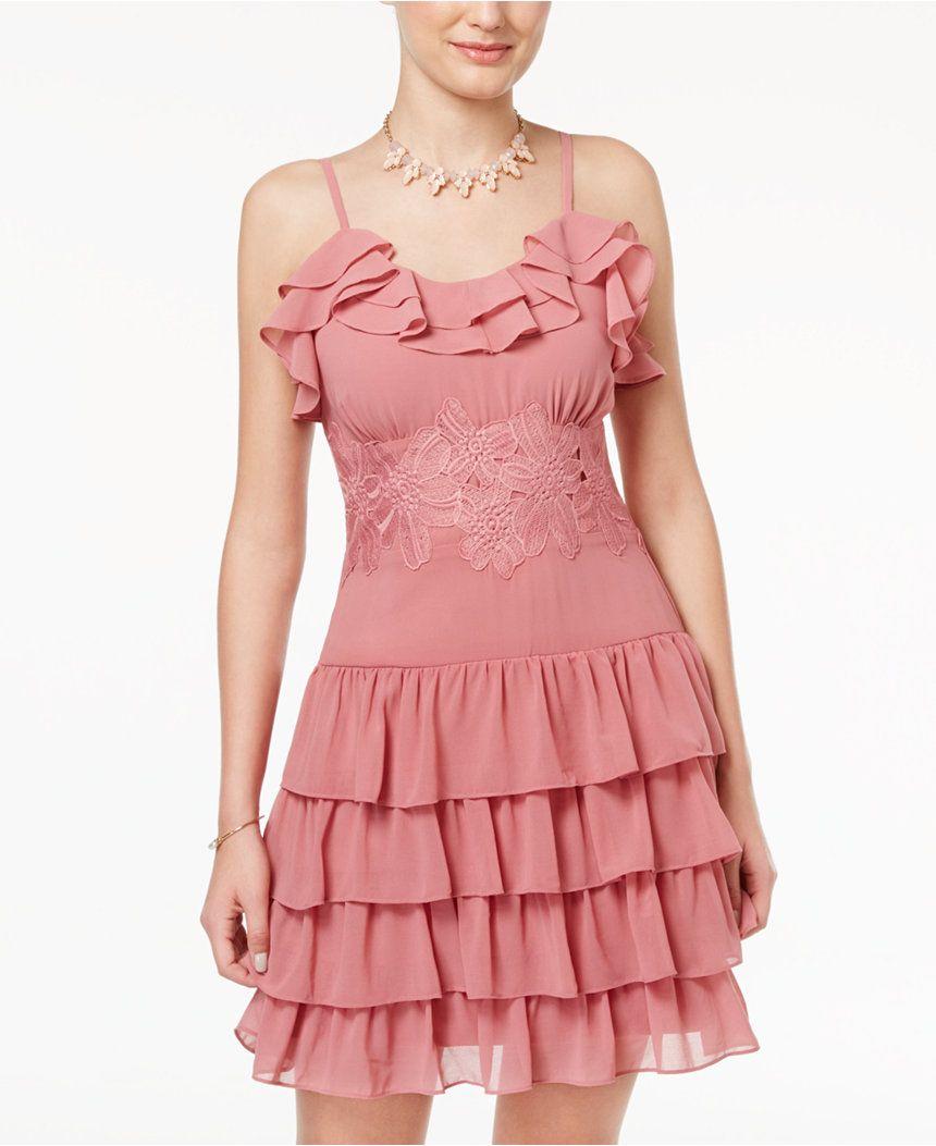 Disney Beauty and the Beast Juniors\' Lace-Trim Ruffled Dress ...
