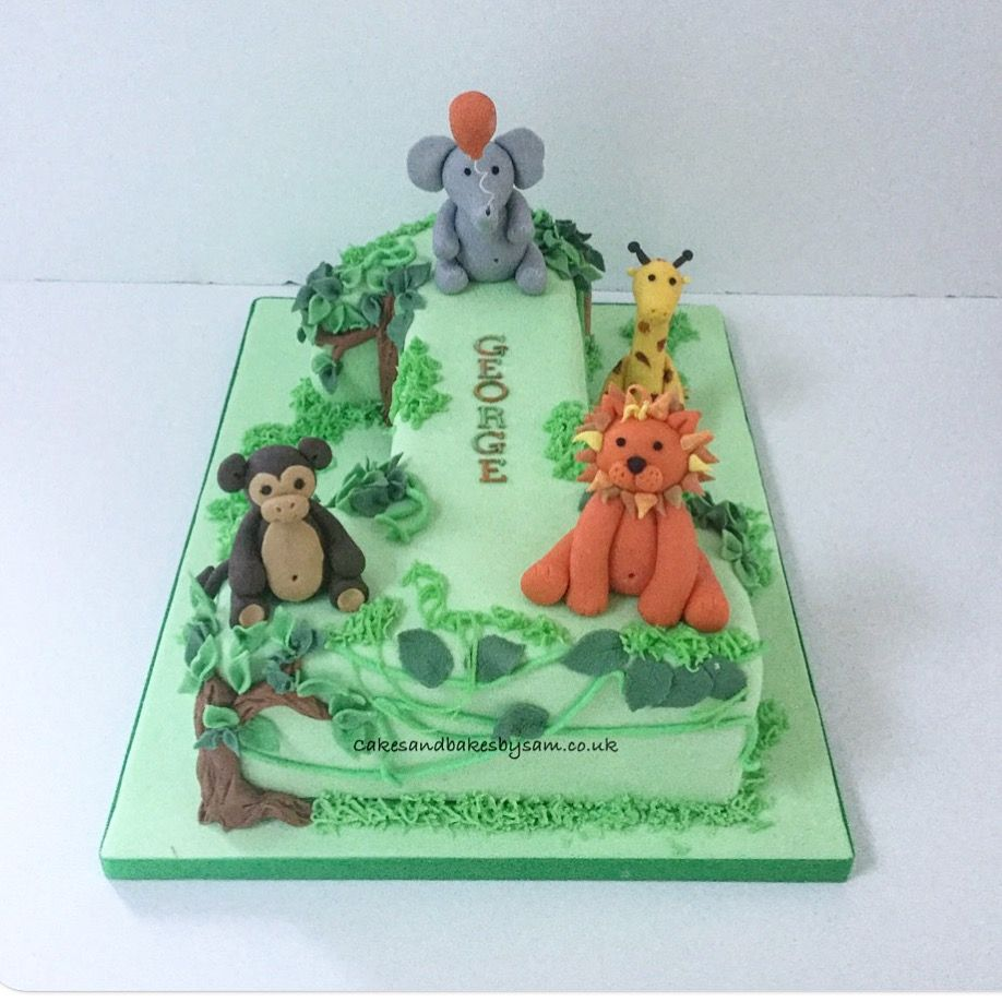 Number One Animal Birthday Cake Zoo Safari Birthday Party