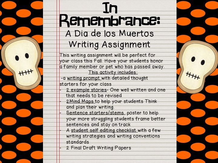 dia de los muertos essay in spanish Dia de los muertos originated in mexico 3,000 years ago, kept mostly in the central and southern regions learn about 7 latin countries that celebrate it.