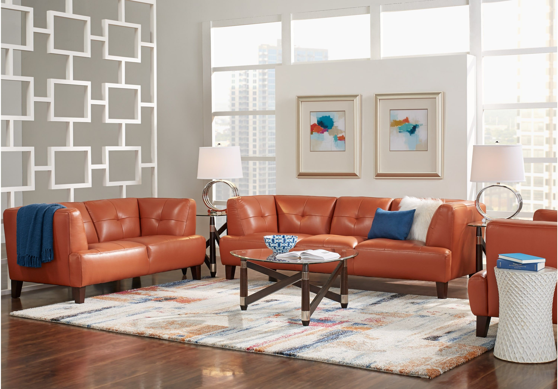 Best Villa Capri Orange 3 Pc Leather Living Room Leather 400 x 300