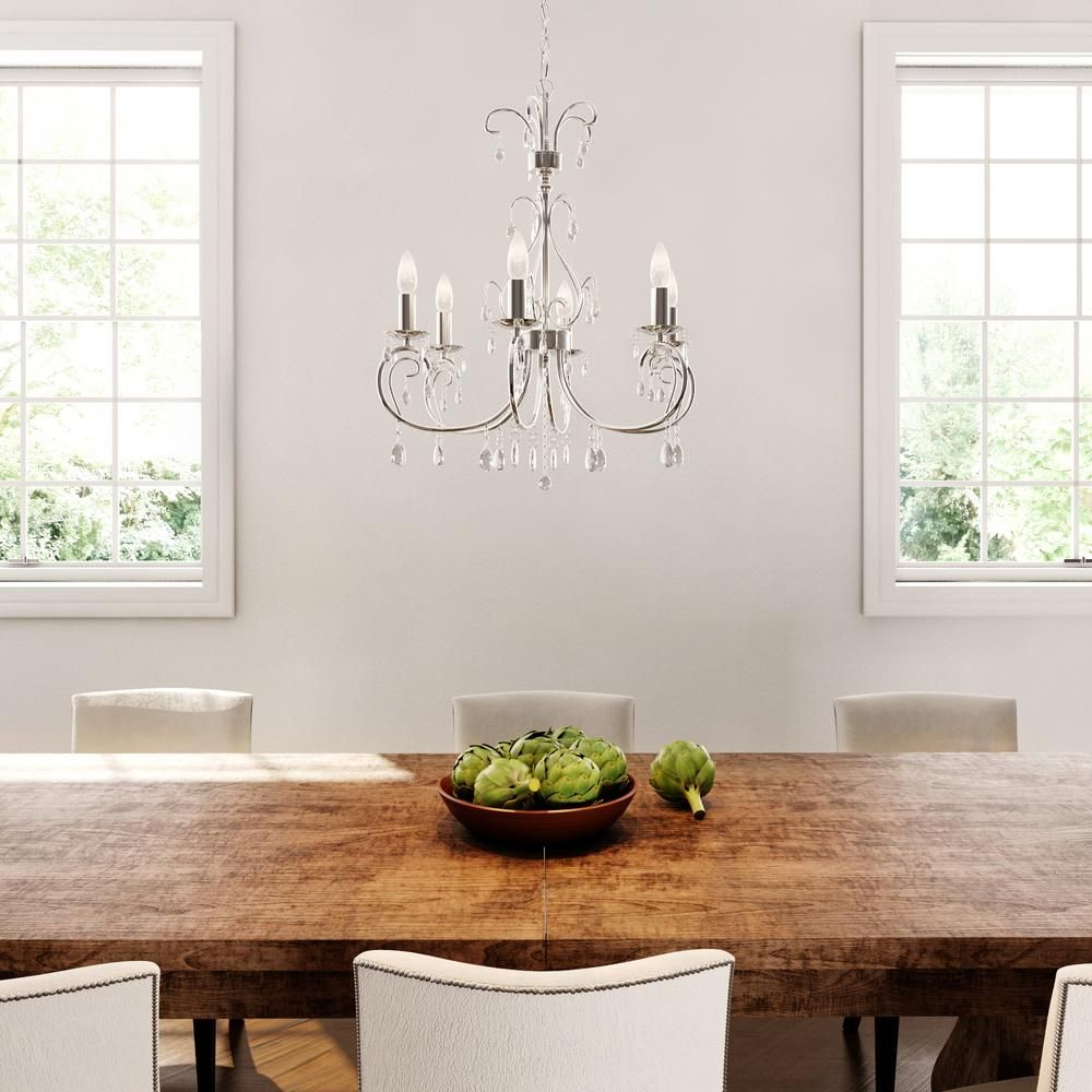 World imports kothari light chrome chandelier with hanging
