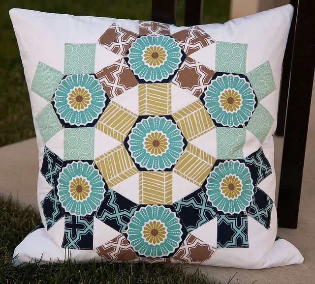 Spring Carnival Pillow by Pitter Putter Stitch, love the ferris wheel feeling