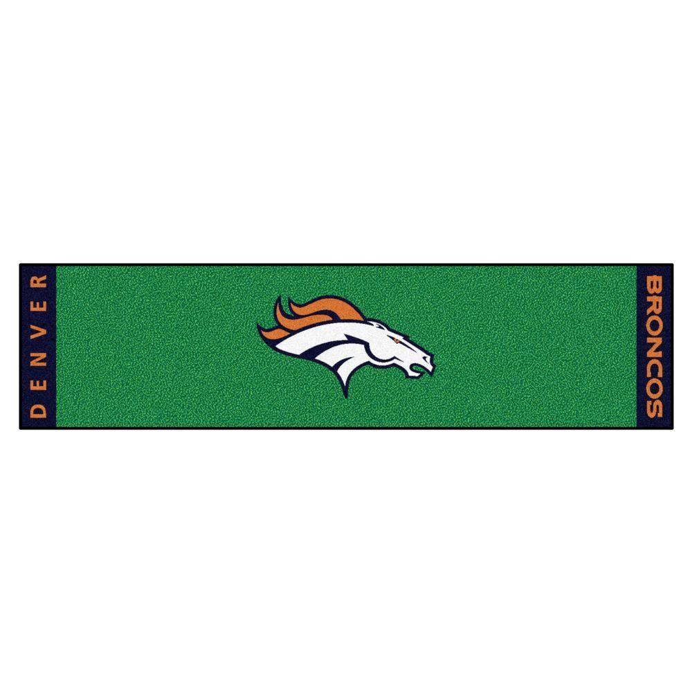 NFL Denver Broncos 1 ft. 6 in. x 6 ft. Indoor 1-Hole Golf Practice ...