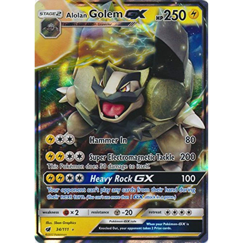 Pokemon  ALOLAN GOLEM GX Ultra Rare 34//111 CRIMSON INVASION NM//M