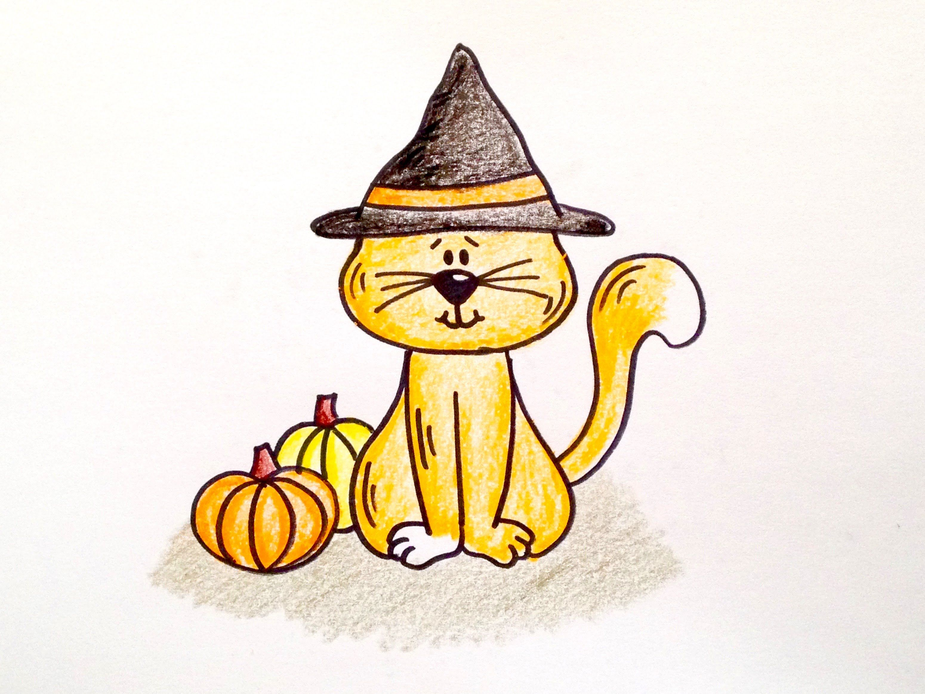 Drawing Lesson: How to Draw a Halloween Cat. Grab paper ...