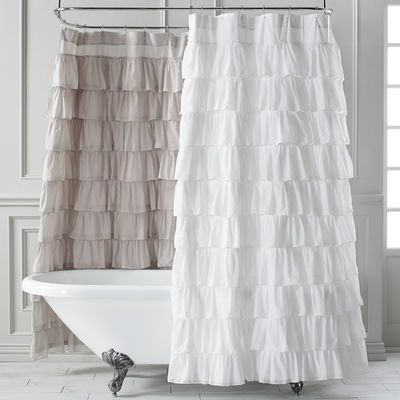 Ruffled White Shower Curtain In 2020 Ruffle Shower Curtains