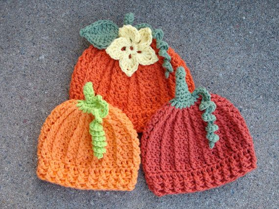 Crochet Pattern For Pumpkin Beanie Hat 5 Sizes Baby To Adult