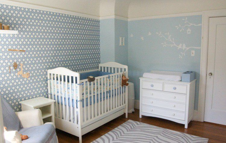 déco chambre de bébé fille avec rayures Chambre Bb Garon Bleu Et