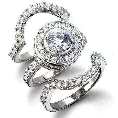 Love The Top And Bottom Antique Style Arch Bands! Cybillu0027s Antique Style  Three Ring CZ. Wedding Ring SetWedding ...