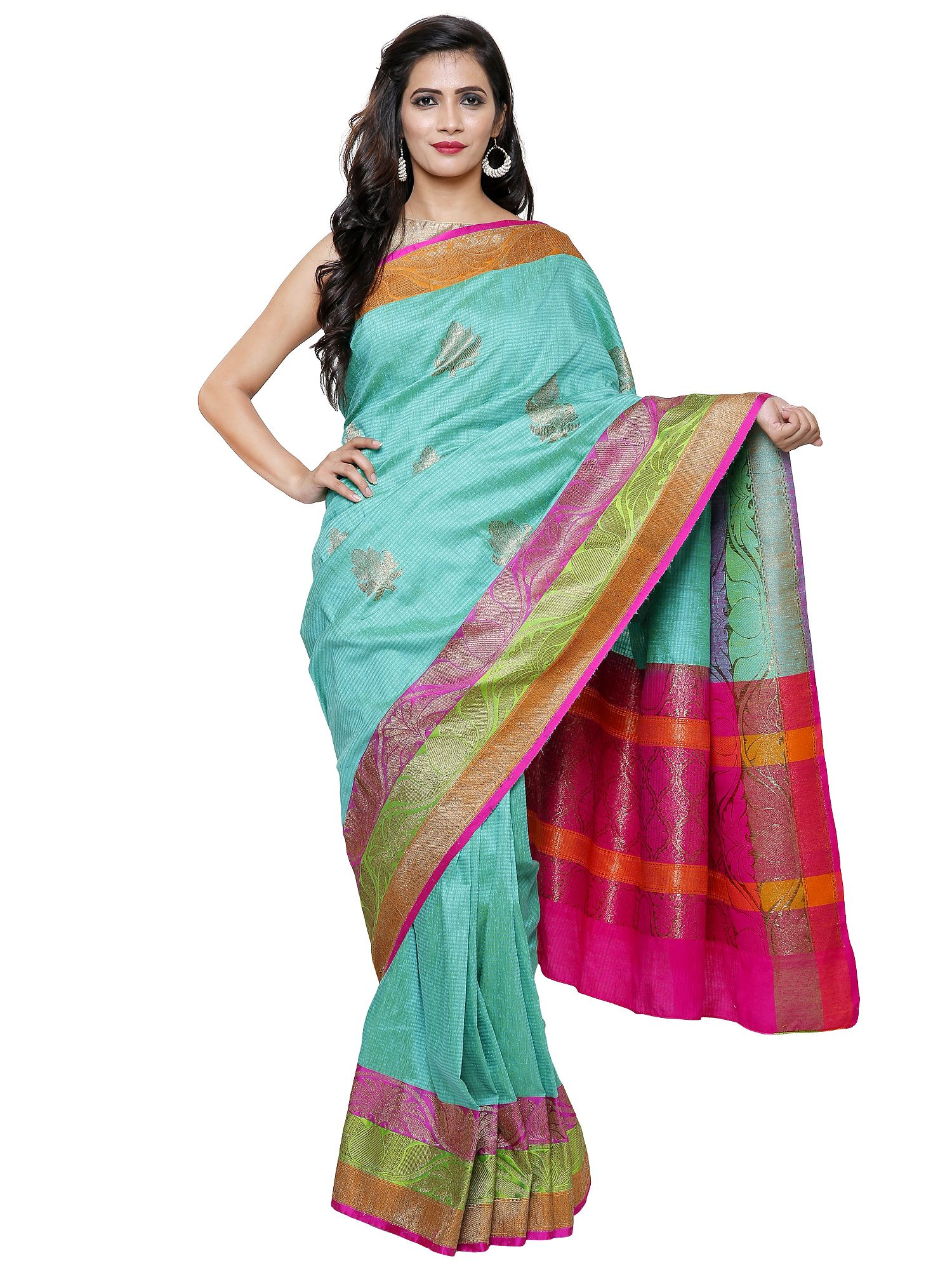 e4778ff11c3f1d Off White Banarasi Silk Tissue Saree with Multicolor Floral Pattern ...