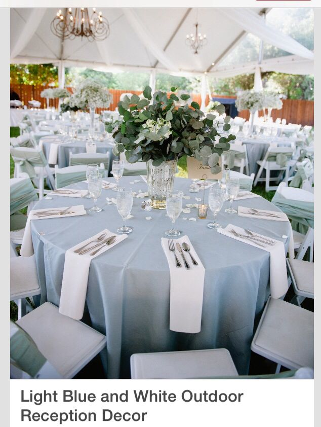 Light blue and white reception, centerpieces of baby\'s breath and ...
