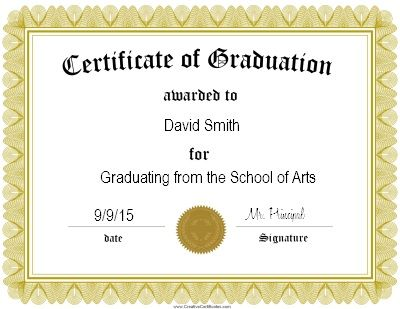 Gold Certificate of graduation certificate Printable \ Patterns - free certificate template for word