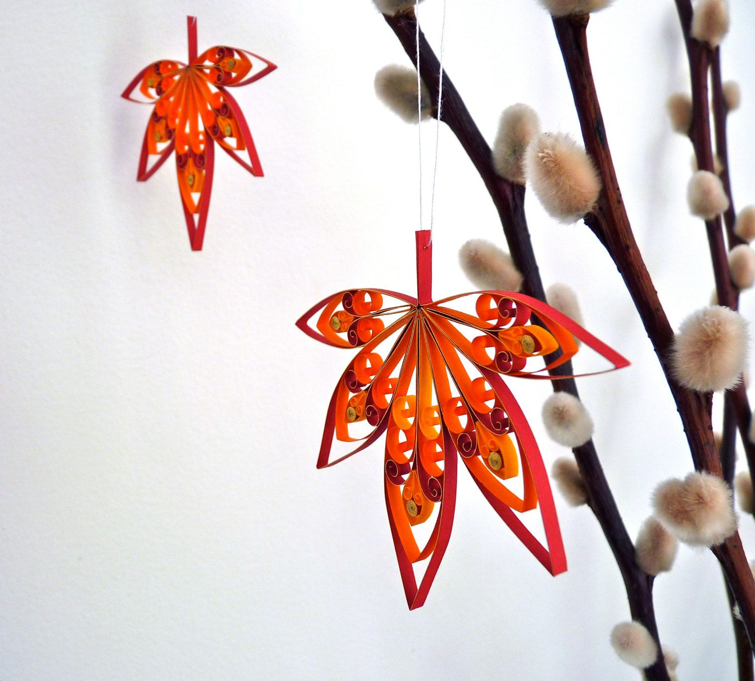 Quilled leaf ornaments