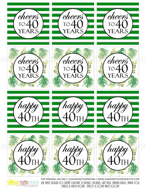 Printable 40th Birthday Gift Tags Cheers To 40 Years Cupcake Toppers Cupca