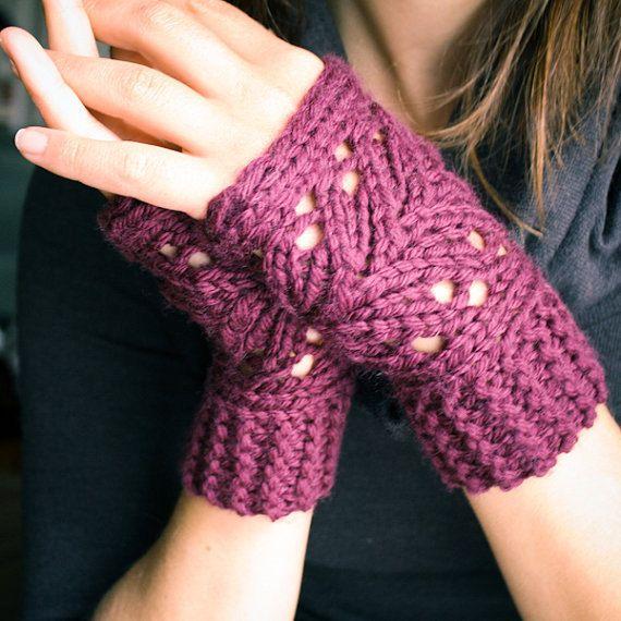 TEJER patrón archivo PDF - guantes Fingerless Lacefield Knit ...