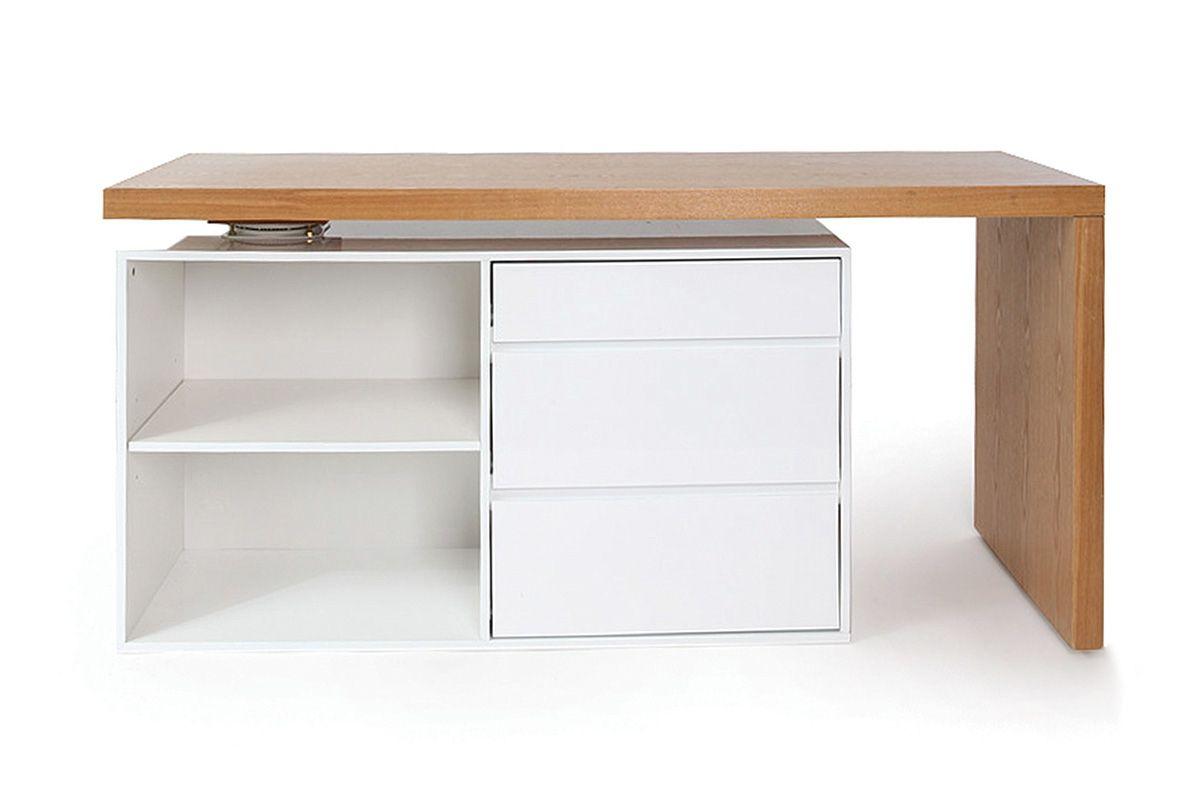 Bureau design modulable blanc brillant et frêne new max zoom