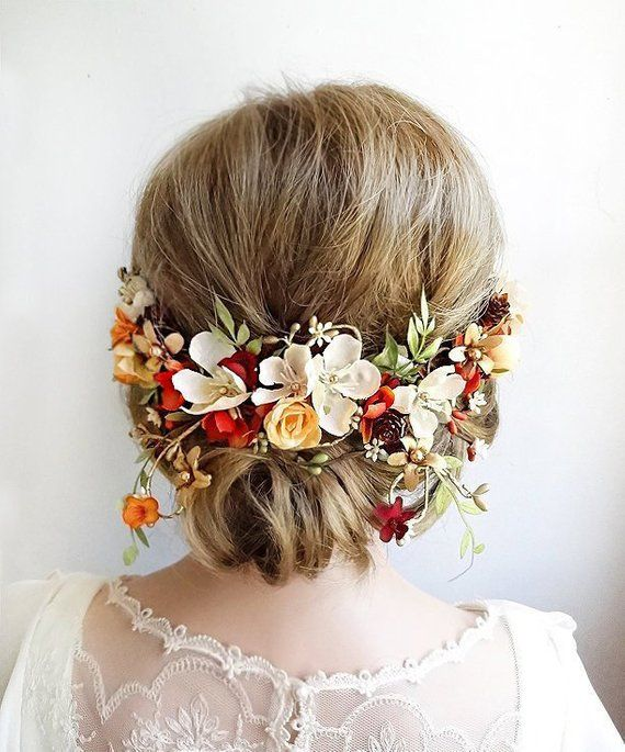 Fall Wedding Hairstyles With Flower Crown: Fall Headpiece, Fall Hair Piece Wedding, Autumn Headpiece