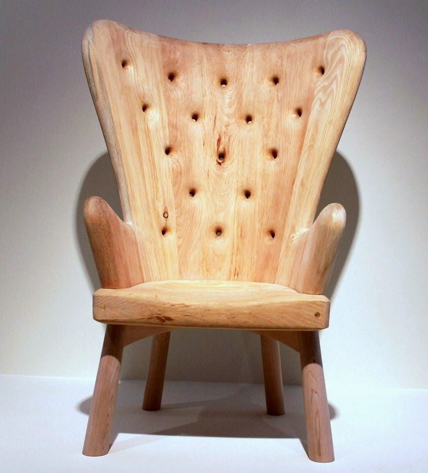 """""""A Skeuomorphic Wing Chair,"""" 2012 by Martin Puryear carved pine with maple legs, made for the """"Against the Grain"""" exhibition at MAD New York."""