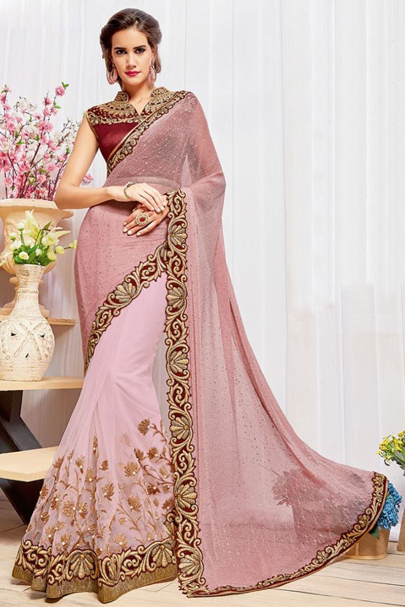 Off saree model images picture of outstanding pink color half u half saree  s  pinterest