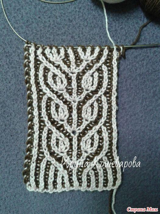 Узор для вязания спицами в технике бриошь (с изображениями ...