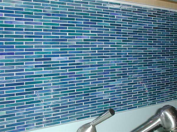 installing peel and stick mosaic tile with blue color design