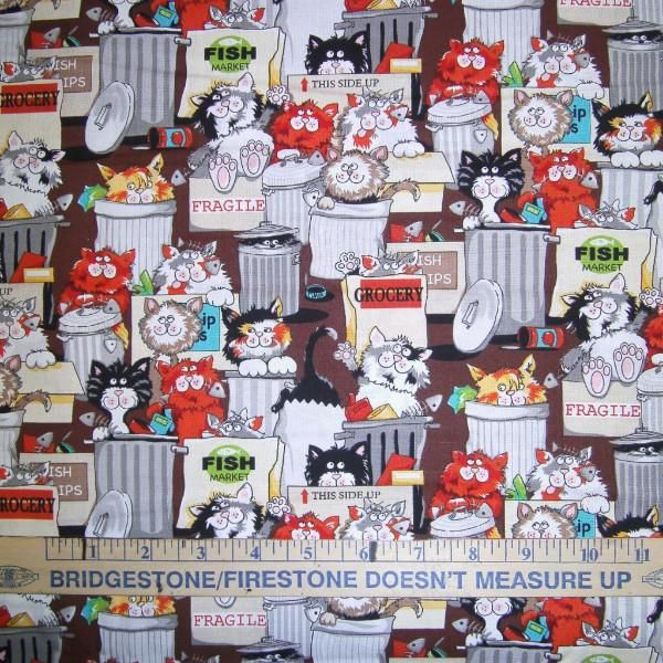 New. Back Street Kitty Fabric to sew. This print shows images of adorable back street cats...they are digging through the trash cans and eating scraps. This is a very animated print. Fabric by Benarte