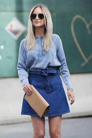 These 16 ways to wear a denim skirt are just what you need to jump on the  denim-skirt bandwagon this season! ba76636ce