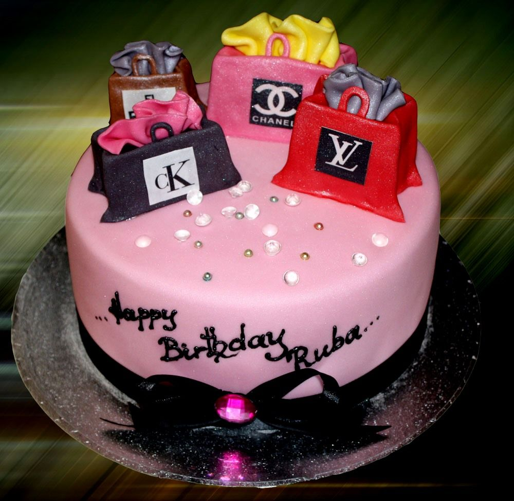 In law in addition free pink birthday cake in addition bake shop party - Shopaholic Born To Shop Theme Cakes And Cupcakes Cakes And Cupcakes Mumbai
