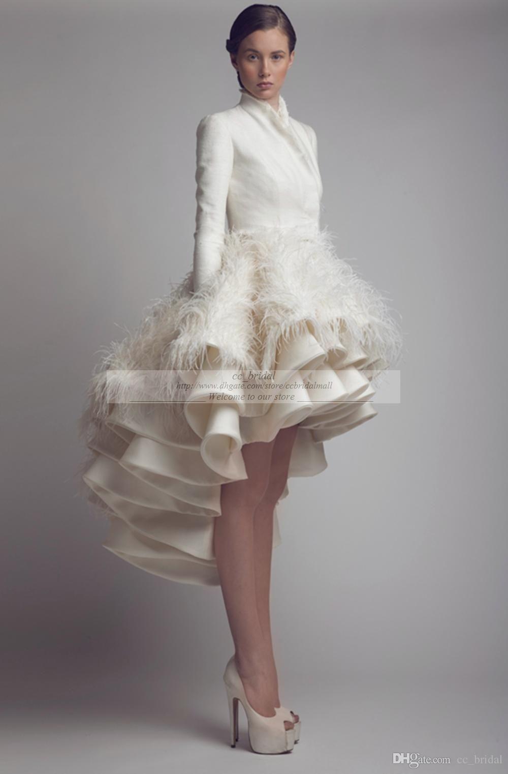 Discountdesigner Krikor Jabotian High Low Wedding Dresses High Collar Ruffle Feather A Line Satin Long Sleeve Bridal Gowns Plus Size Wedding Gowns From Cc Brida Wedding Dresses High Low Short Wedding Dress [ 1522 x 1000 Pixel ]
