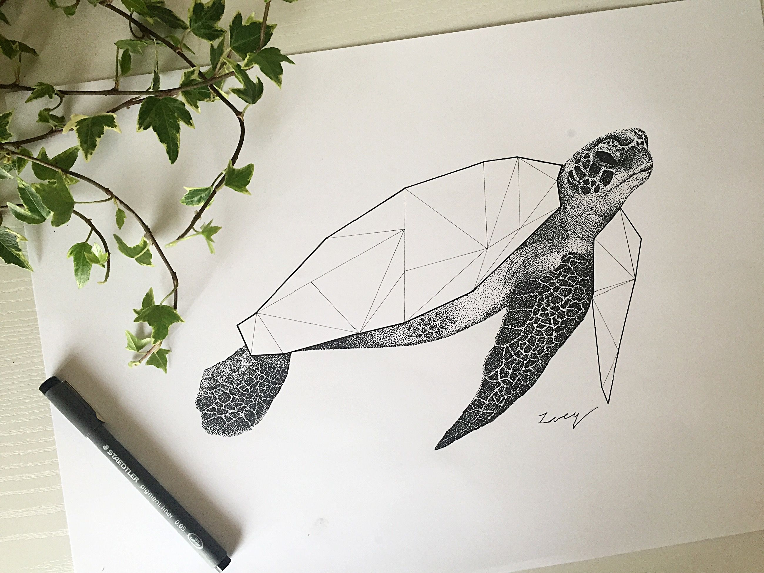 Geometric abstract turtle u black ink u drawing u personal