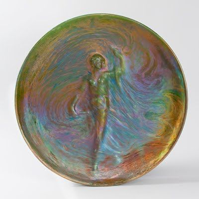 Art Nouveau iridescent ceramic plate  by Clément Massier