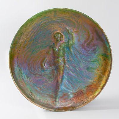 Art Nouveau iridescent ceramic plate  by Clément Massier