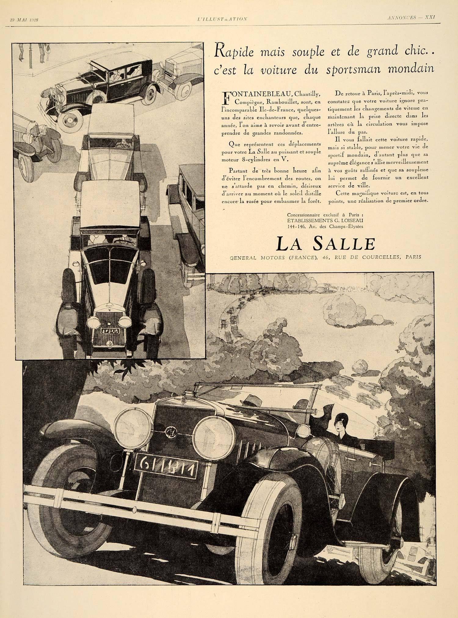 1928 Ad La Salle General Motors Cars French Automobile Original Ill3 General Motors Cars General Motors Automobile