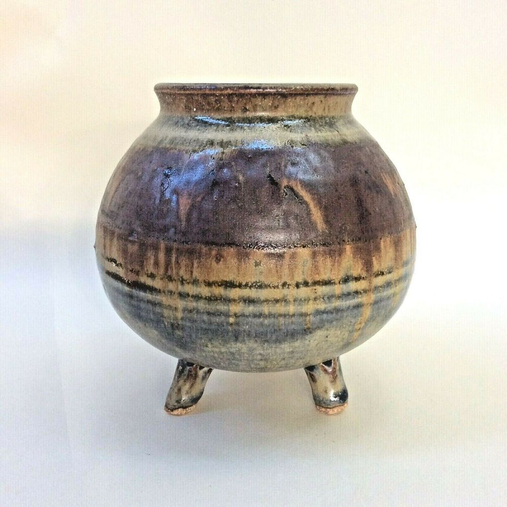 Australian studio pottery footed pot vase multicolour